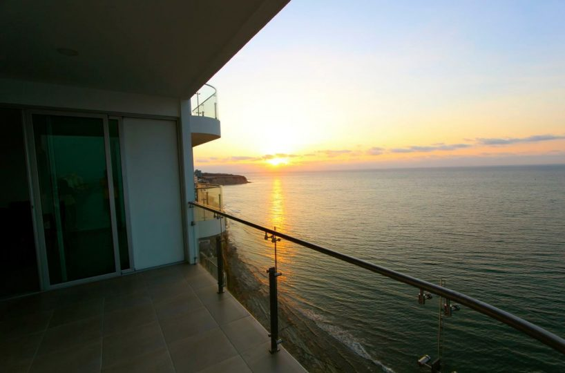 Beachfront Condo Balcony Sunset