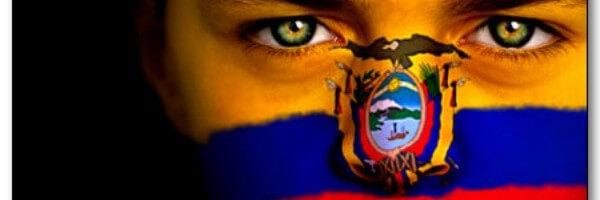 Girl with the ecuadorian flag